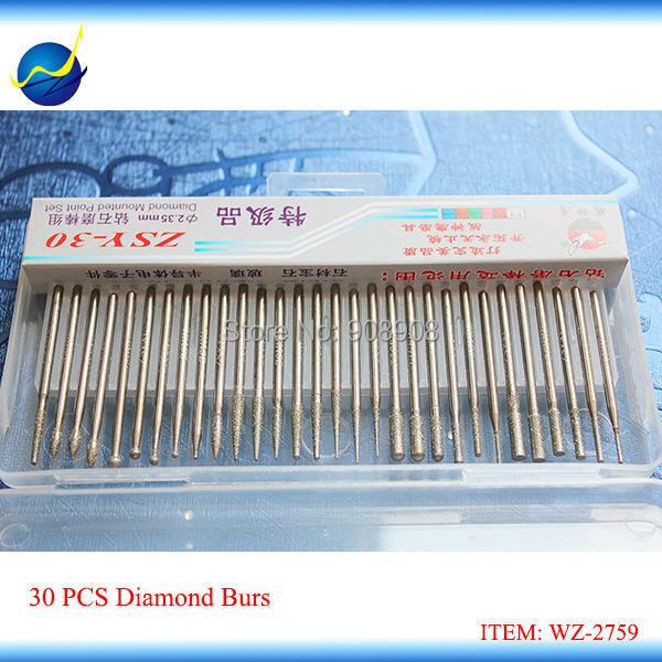 30 vnt deimantiniu būdu tvirtinamų elektrinių mikromotorinių grąžtų įrankių rinkinys, skirtas šlifuoti dantų žandikaulio šlifavimo kotelį 3/32 ''