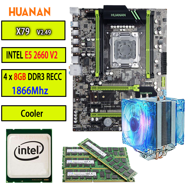 HUANAN 2.49P X79 motherboard LGA2011 ATX CPU E5 2660 V2 SR1AB 4pcs of 8G 32GB 1866Mhz with cooler SATA3 PCI-E NVME M.2 термосумка thermos e5 24 can cooler 19л [555618] лайм