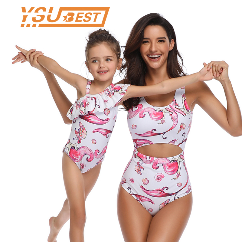 Family Matching Swimwear Mother And Daughter Bikini Clothes Mermaid Floral Family Look Mom And Daughter Swimsuit Outfit Women