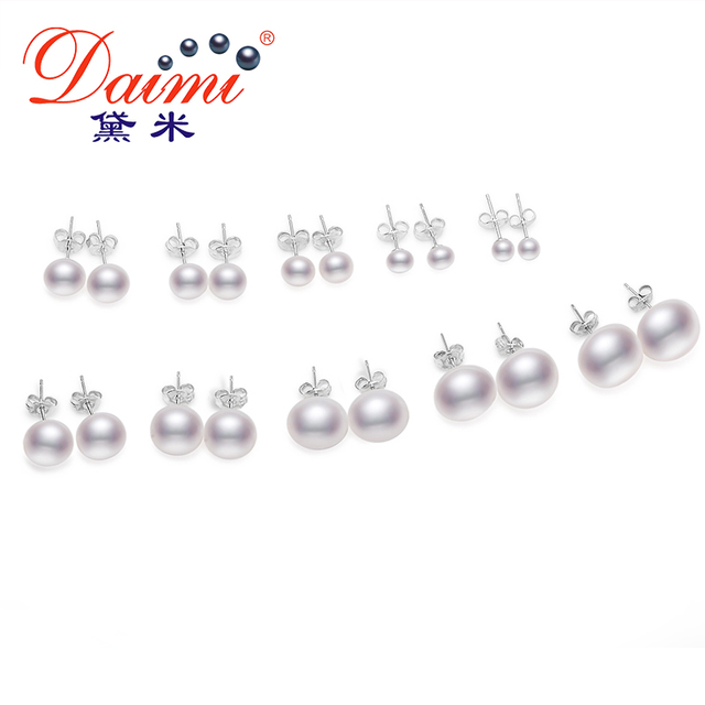 Daimi White Pearl Earrings, Elegant 925 Solid Silver Stud Earrings, Simple Elegant All size Pearl Studs Options 3-4mm to 13-14mm