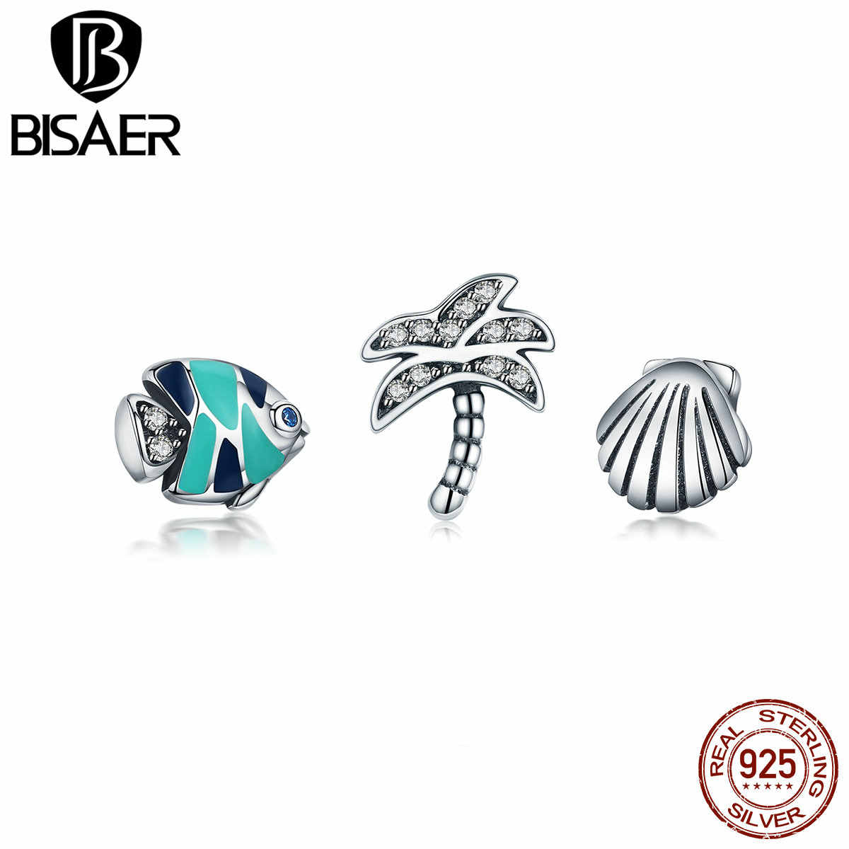 BISAER 925 Sterling Silver Palm Tree Sea Shell Colorful Fish Tropical Paradise Petites, Mixed Enamel Charms Fit Charms Bracelet