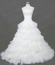 Free Shipping Charming Ball Gown Strapless Tiered Tulle Lace Up Back Court Train Wedding Dress Real Image With Appliques MD100