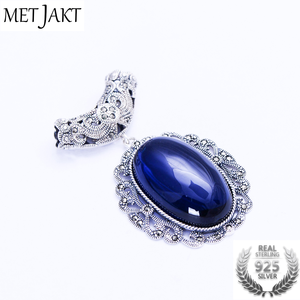 MetJakt Vintage Sapphire Pendants Solid 925 Sterling Silver Pendant for Sweater Chain for Women s Wedding