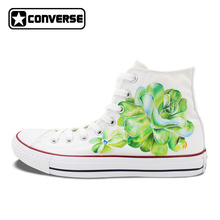 Succulent Plants Original Design Custom Converse Chuck Taylor Hand Painted Shoes Man Woman White Sneakers Women