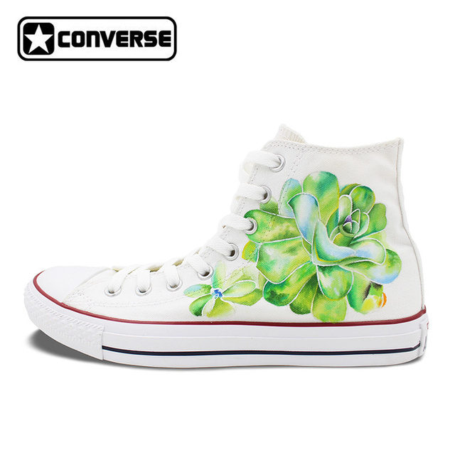 Succulent Plants Original Design Custom Converse Chuck Taylor Hand Painted Shoes Man Woman White Sneakers Women