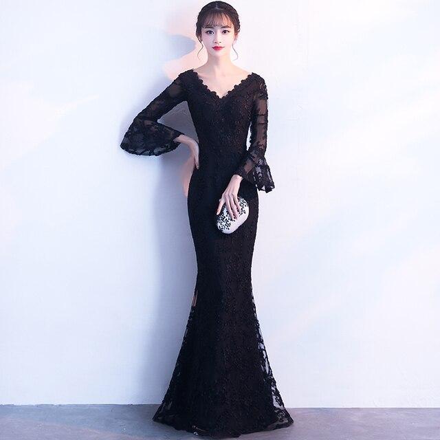 Ruffle Sleeve Evening Dress