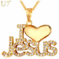 """U7 collier CZ jésus coeur pendentif & chaîne """"j'aime jésus"""" cadeau pour femmes/hommes couleur argent/or bijoux chrétiens colliers P610"""