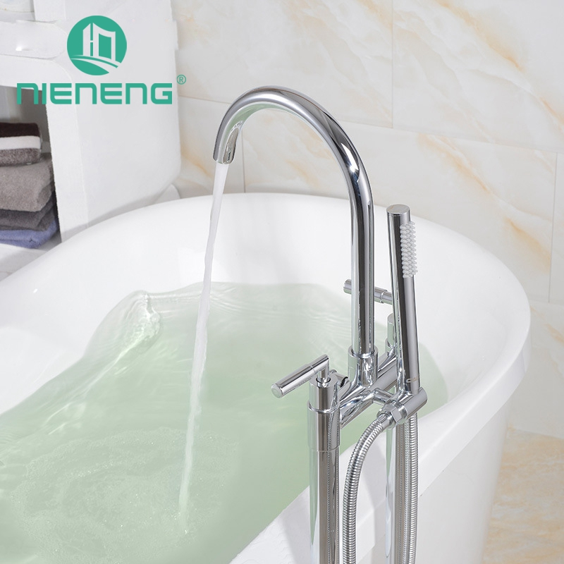 Nieneng Freestanding Filler Bathroom Multi Function Floor Mount Faucet Double Pole Double Handle Cylinder Shower Head ICD60637