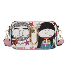 Cartoon Mini Small Square Package Women Shoulder Bag Wide Shoulder Strap PU Leather Wild Fashion Messenger Mobile Phone Bag free delivery genuine leather women bag printing small square package 2016 new fashion shoulder messenger bag