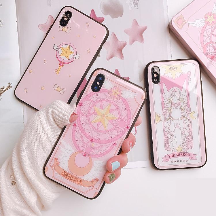 Için huawei P30 Lite/P30 Pro Sakura Kart Captor Sailor Moon Temperli Cam  anime silikon kılıf huawei P20 lite/P20 Pro