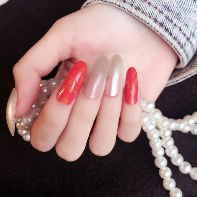 24pcs Long Red Beige Press On Nails Shiny Artificial Nails Oval Art ...