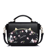 Bolsas Femininas Printing Flowers Metal Cat Ears Black Pink Handbags Fashion New Style Bag Women Shoulder