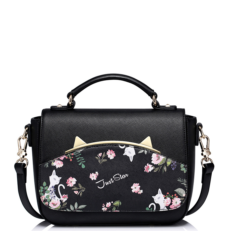 Bolsas Femininas Printing Flowers Metal Cat Ears Black Pink Handbags Fashion New Style Bag Women Shoulder Hot Sale In China handbags women trapeze bolsas femininas sac lovely monkey pendant star sequins embroidery pearls bags pink black shoulder bag