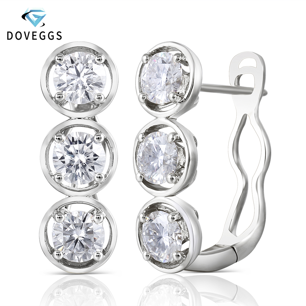DovEggs Platinum Plated Silver 4 5mm H Color Moissanite Stone Earrings for Women wiht 14K White