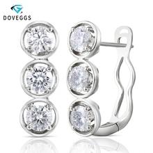 DovEggs スターリング Solid 925 シルバー 4.5 ミリメートル H カラーモアッサナイト石のイヤリングて層状 14 18K ホワイトゴールドピン