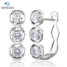 DovEggs Sterling Solid 925 Silver 4.5mm H Color Moissanite Stone Earrings for Women wiht 14K White Gold Pin