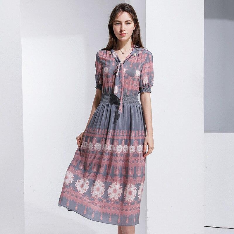Rose floral soie grande taille été robe vintage rétro rockabilly longues bohème robes sexy dames 2019 femmes d'été entreprend