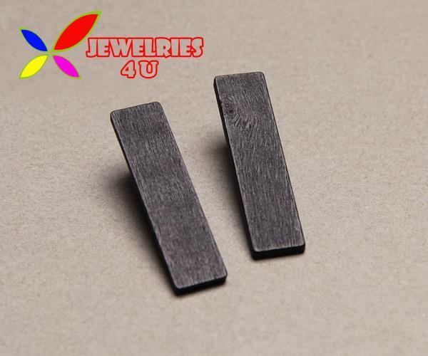 High Quality Black Wooden Stud Earrings