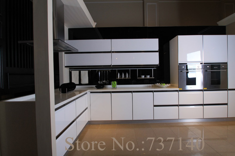 High Gloss White Lacquer Kitchen Cabinet Wood