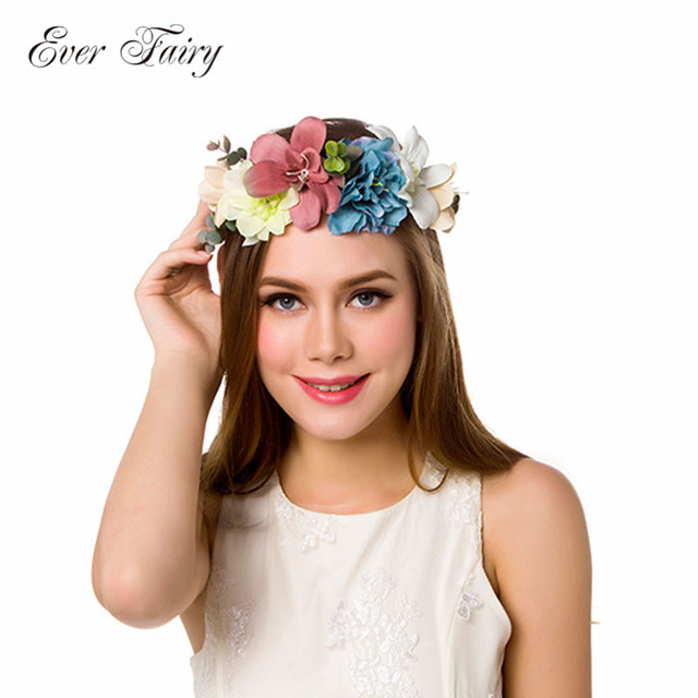 Flower Crown Wedding.Us 6 9 20 Off Ever Fairy Women Bezel Flowers Wreath On Head Girls Flower Crown Wedding Bridal Hair Accessories Rose Floral Headband For Female In