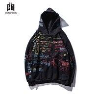 Hip Hop Graffiti Hoodies Mens Autumn Casual Pullover Sweats Hoodie Male Fashion Skateboards Sweatshirts off white 2019 New