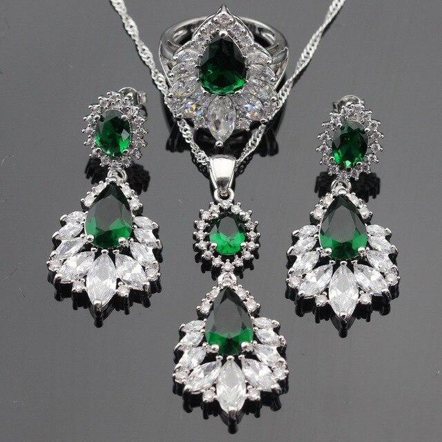 Зеленый Имитационные Изумрудный Белый CZ Серебряный Цвет Свадебные Комплекты Ювелирных Изделий Для Женщин Длинные Серьги Ожерелья Кольца Бесплатный Подарочная Коробка