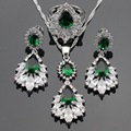 Green Imitated Emerald White CZ Silver Color Bridal Jewelry Sets For Women Long Earrings Necklace Pendant Rings Free Gift Box