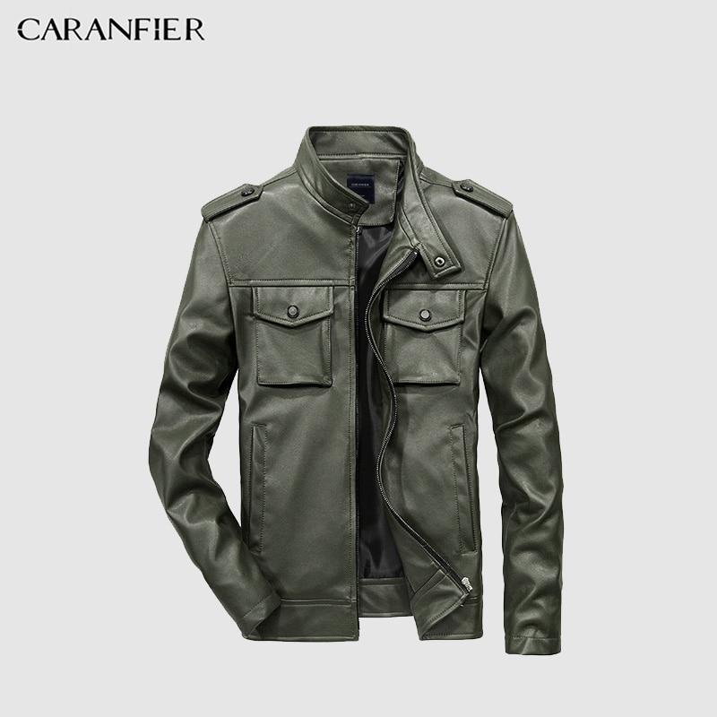 CARANFIER Mens Leather Jackets Fall Winter Coat Men Faux Coats Biker Motorcycle Male Business Jacket Top Quality US Size XXS-3XL