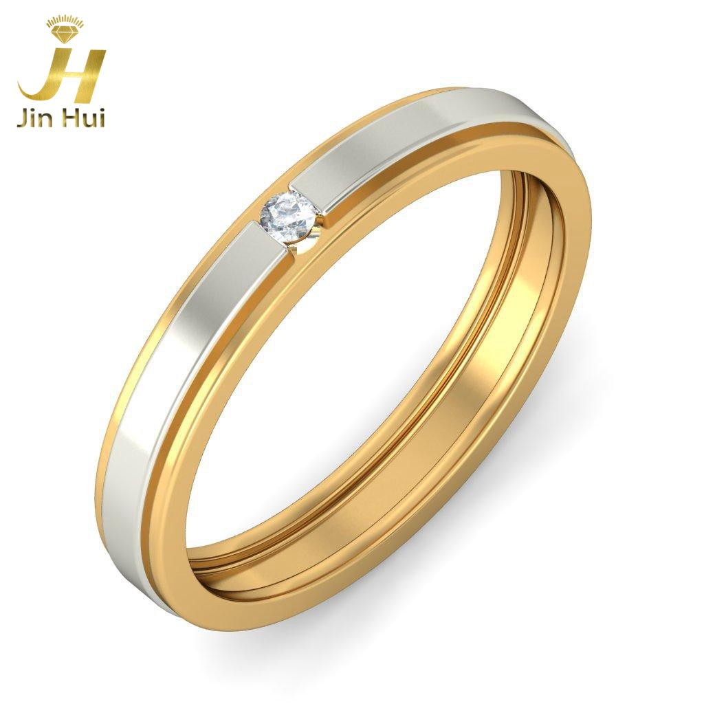 Jinhui Men The Cosma Ring For Him Solid 18K Yellow 750 Gold 0.032CT Natural Diamond Jewelry Free Engraving