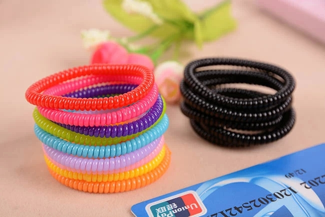 2015 New Candy Thin Telephone Cord Elastic Ponytail Holders Hair  Accessories Girl Women Rubber Band Tie e697729eccb