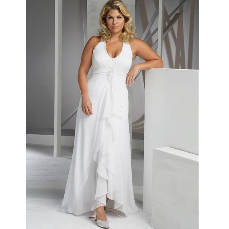 Sexy plus size beach wedding dresses 2016 a line halter for Aline halter wedding dresses