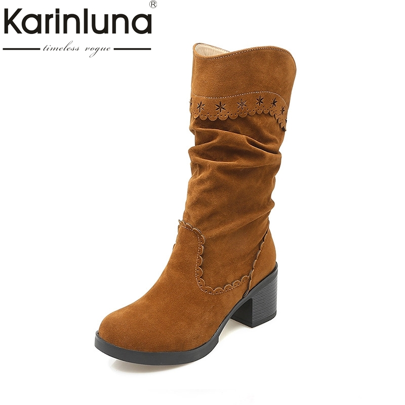 KARINLUNA Large Size 33-43 Vintage Brogue Boots Square Med Heels Winter Shoes Women Add Fur Fashion Slip On Riding Boots Woman brogue boots two tone