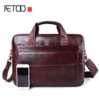 AETOO Genuine Leather Men's Briefcases men's leather bags Laptop bag 14inch business Handbags Shoulder Bags Crossbody Bag
