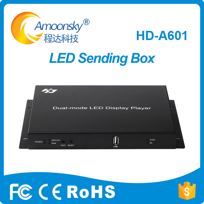 Free Shipping 2 Pieces A Lot HD-A601 And HD-A601 Add WIFI Mode Huidu Full Color Display Control Box