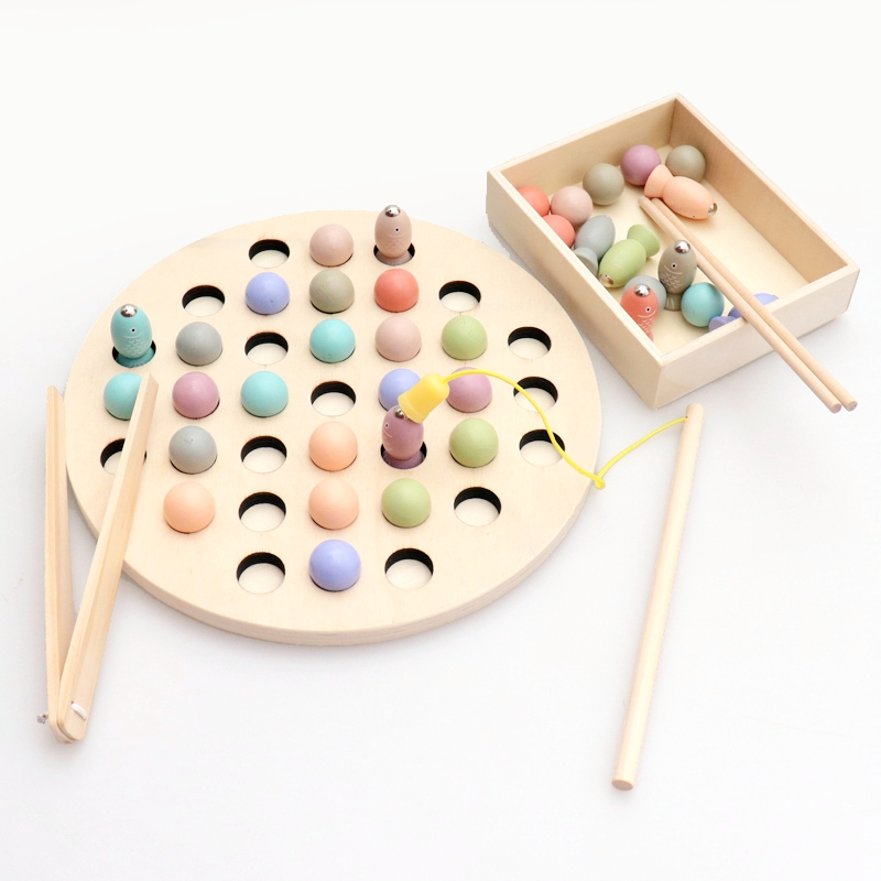 Wooden Montessori Toys Kids Early Learning Educational Toys Clip Beads Magnetic Fishing Game Teaching Aids Toy For Children Gift