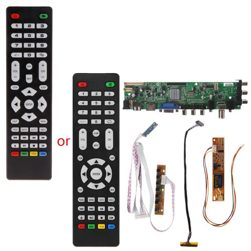 V56 V59 TV LCD Placa de controlador de DVB-T2 + 7 interruptor de llave + IR + 1 inversor de la lámpara + LVDS Kit 3663