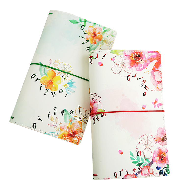 Sweet Flowers Design Leather Traveller Journal 22*13cm 80P DIY Scheduler Diary Notebook Gift Free Shipping fx18 80p 0 8sv