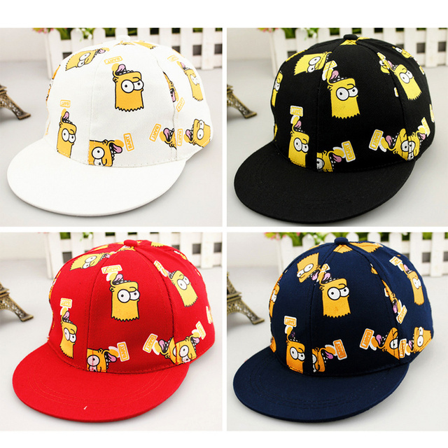 Nueva Marca precioso gorra de béisbol niños Cartoon Simpson sombreros  ajustables 3D impresión hip-hop 359f4d8b6be