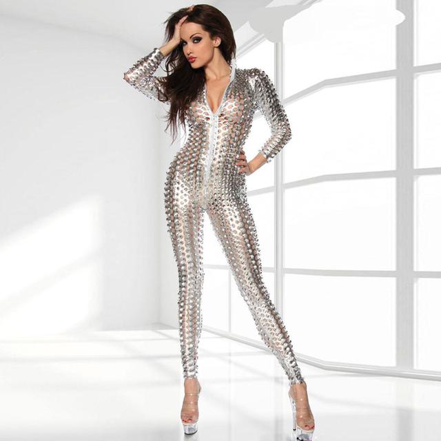 2016 3 Colors Women Gotik Locher Stripper Catsuit Women Wet Look Jumpsuit Bodysuit Sexy Vinyl Catsuit Night Wear S-2XL W7711