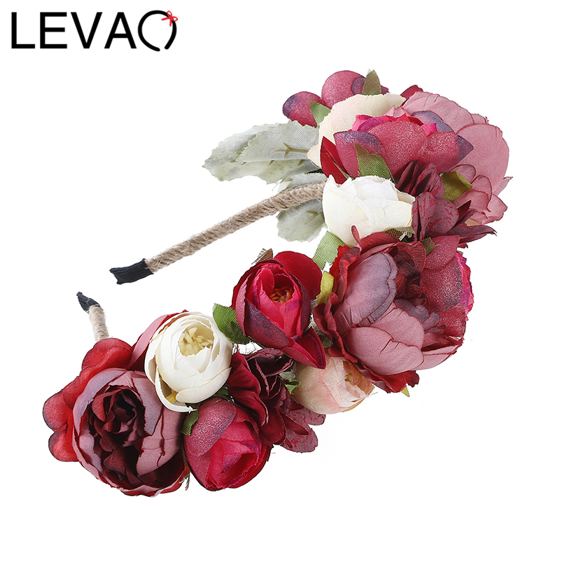 LEVAO Fashion Women Wedding Headband Girls Boho Flowers   Headwear   Children Headbands Hair Accessories Bride Wreath Beach Garland