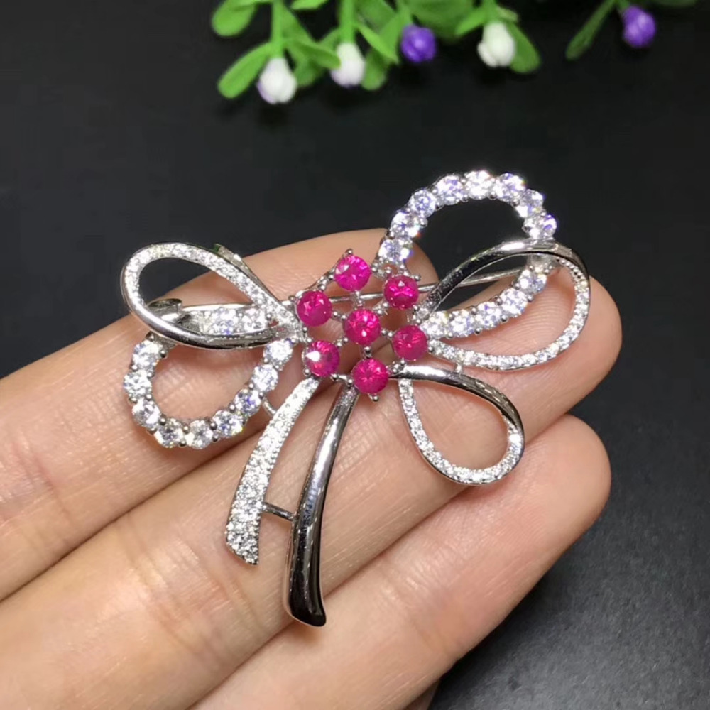 Natural red ruby gem Lovely bowknot brooch S925 silver Natural gemstone brooch Pendant trendy women wedding party gift jewelry цена 2017