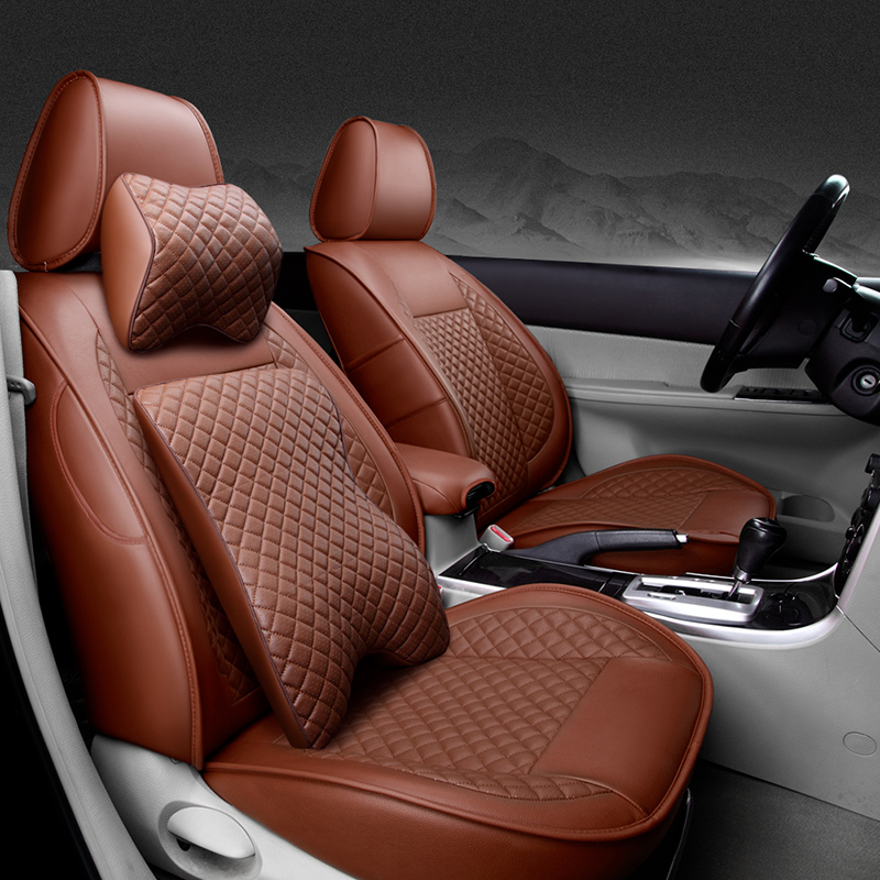 ᗖ(Delantero + trasero) cubierta de asiento de coche de cuero ...