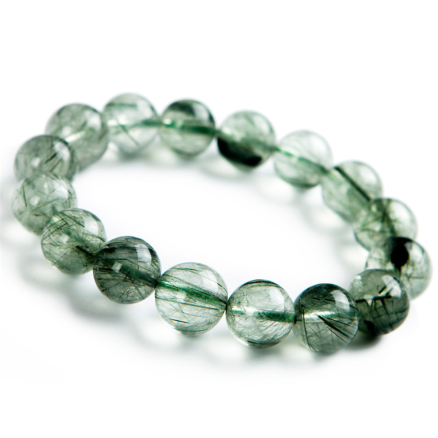 13mm Brésil Véritable Naturel Vert Quartz Rutile Cristal Stretch Bracelet Femmes Hommes Puissant Perle Ronde Bracelet