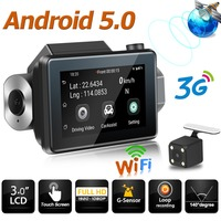Phisung K9 Android 5.0 Car DVR Camera GPS Logger 3G WiFi Dual Lens Dash Cam 3in Touch Screen Auto Dashcam w/ TF Card Slot WDR