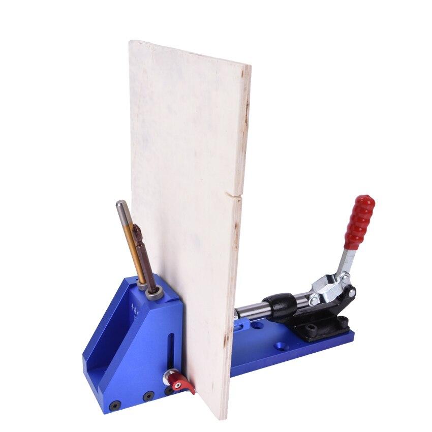 Buraco bolso Sistema de Kit de Reparação de carpintaria Carpinteiro Jig Guia Com Alternância Braçadeira 9.5mm e 3/8 polegadas Broca Passo Bit - 5