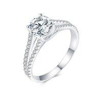 JIASHUNTAI Soild White Gold 1CT Moissanites Diamond Rings For Women Jewelry Free Engrave