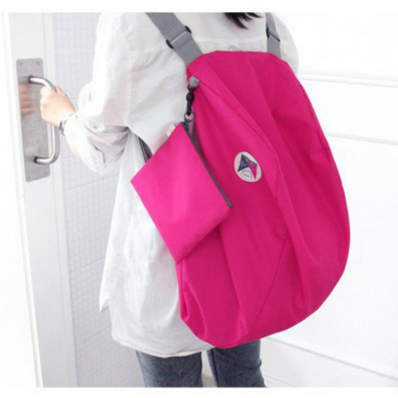 PACGOTH Korean Style Multi-Functional Foldable Polyester Oxford Fabric Backpack Solid Travel Storage Backpacks Shoulder Bag 1PC