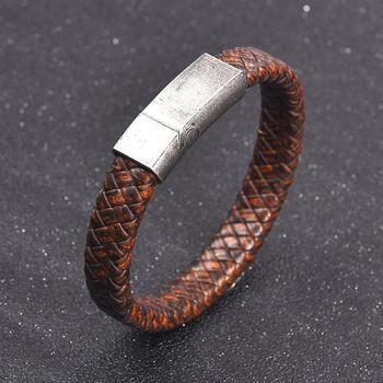 61d2159fdd72 Jiayiqi hombres marrón trenzado pulsera de cuero Cierre magnético de acero  inoxidable brazaletes de moda Punk hombre joyería