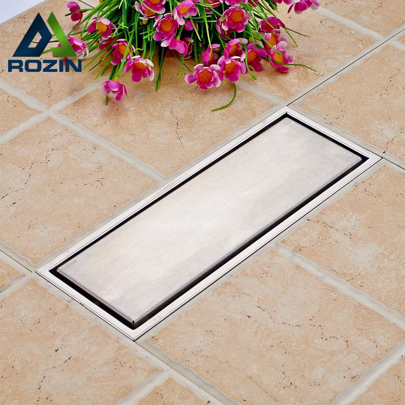 Free Shipping 304 Stainless Steel 300 x 110mm Square Anti-odor Floor Drain Bathroom Invisible Shower Floor Grate Waste Drain