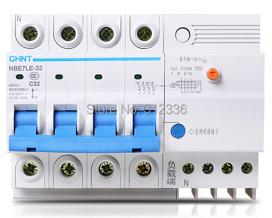Free Shipping Two years Warranty LE C32 4P 32A 4 pole house use ELCB RCD residual current circuit-breaker earth leakage dz47 63 dz47le 32a 400vac 6000a 3 pole mini elcb earth leakage circuit breaker